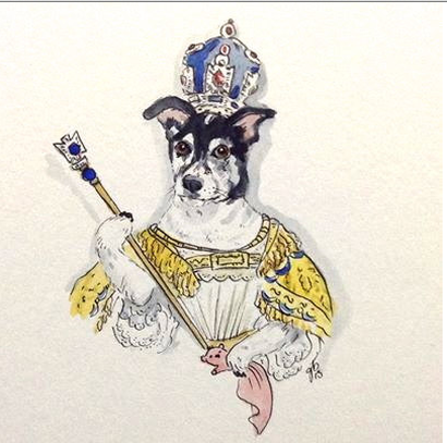 illustrated dog wearing crown