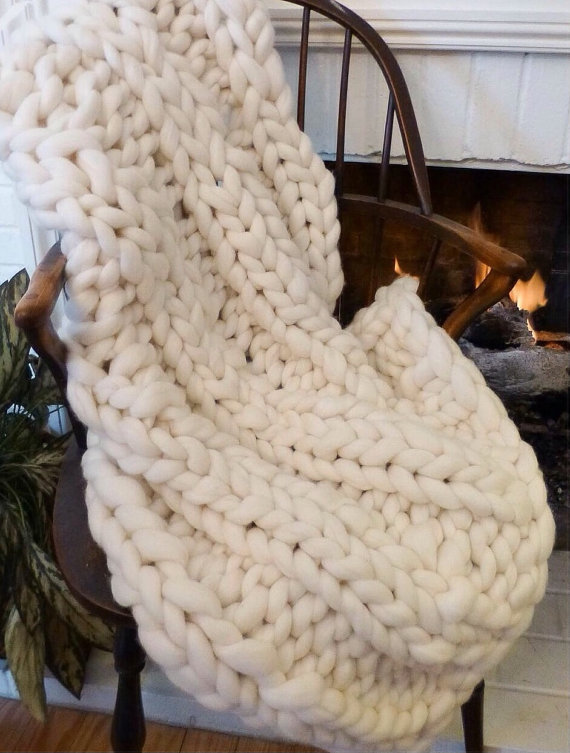 chunky knit throw in front of fireplace