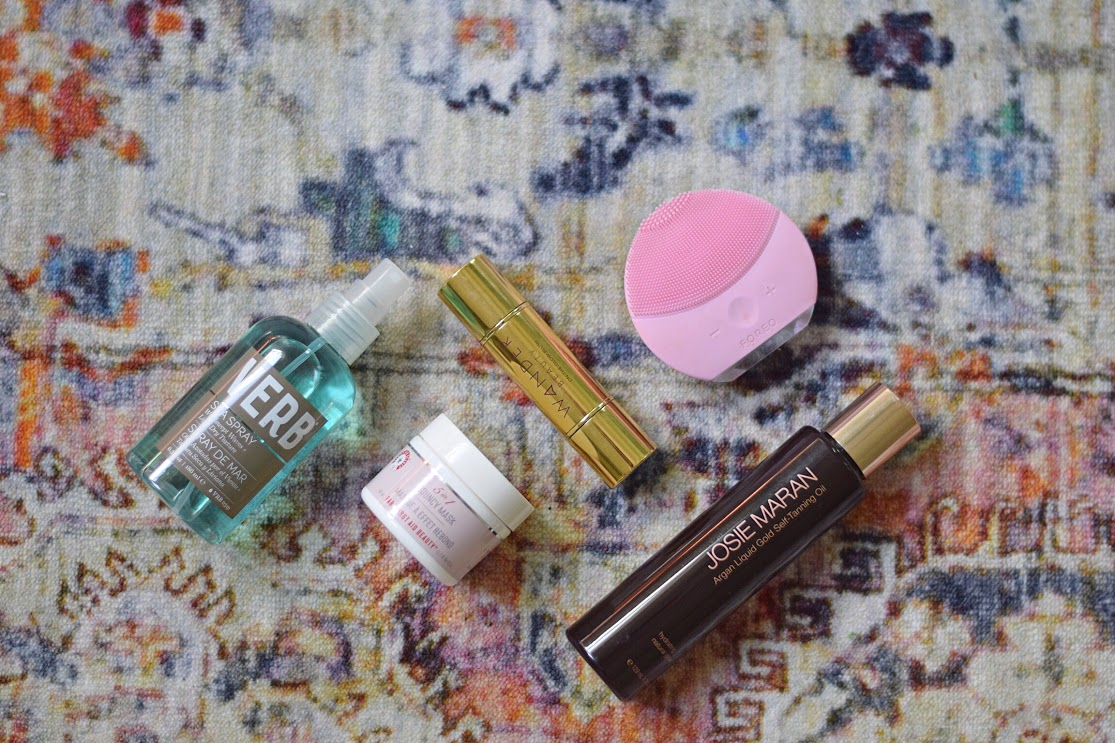 flat lay of beauty products