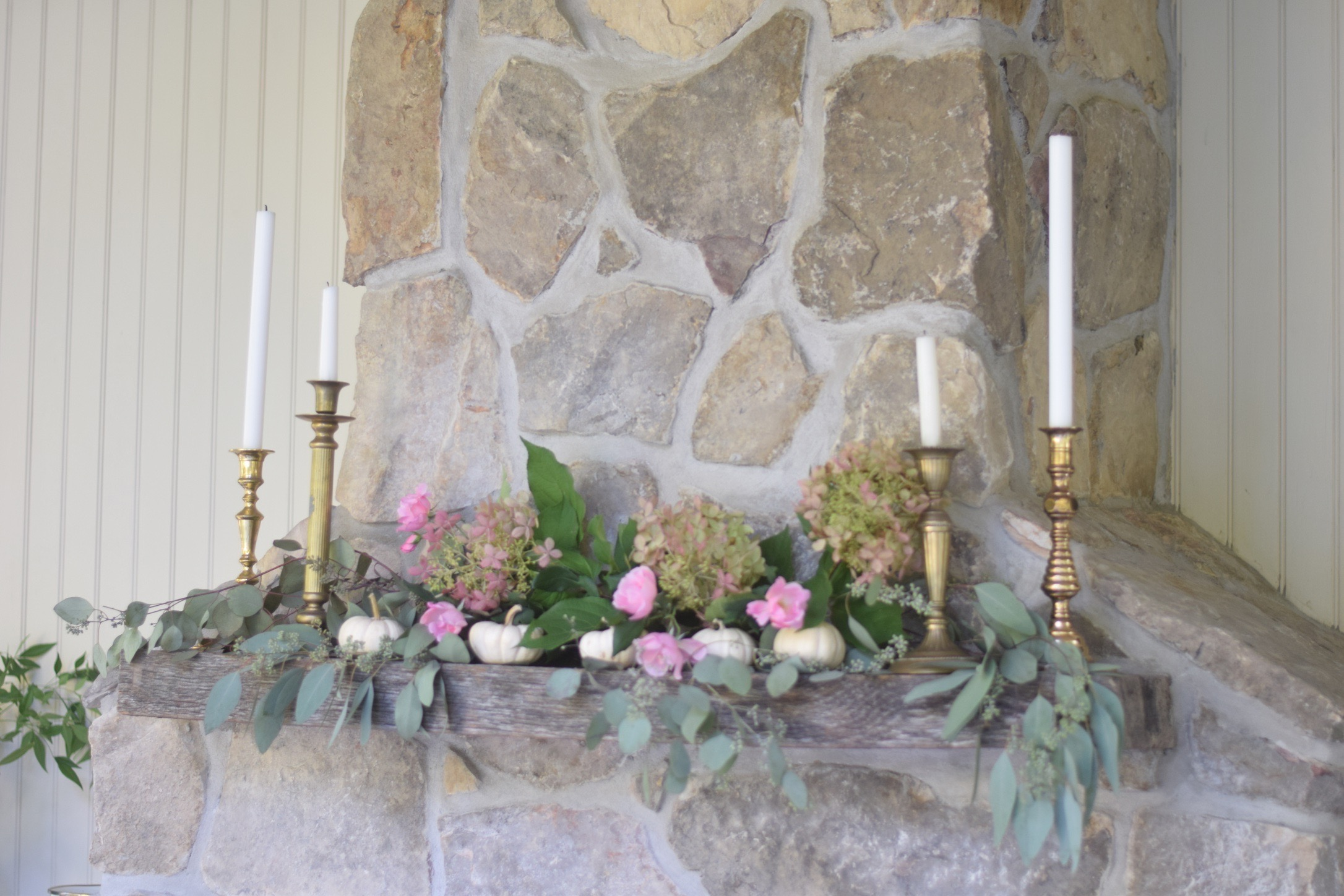 floral mantel with candle sticks