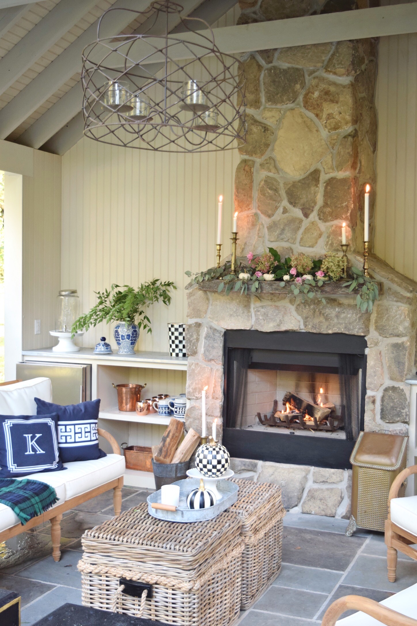 fire place in pool house