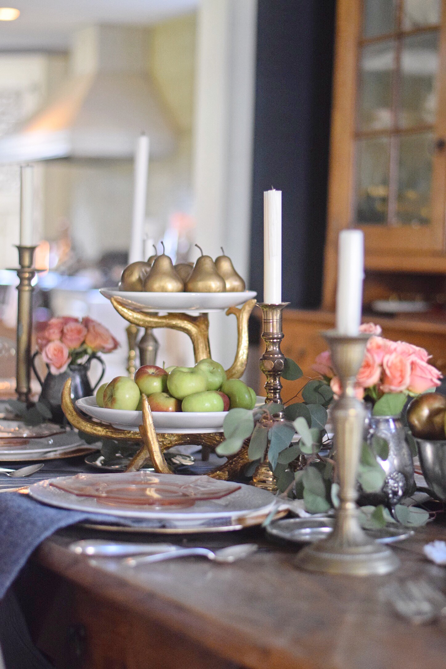 gold antler tray with apples and pears