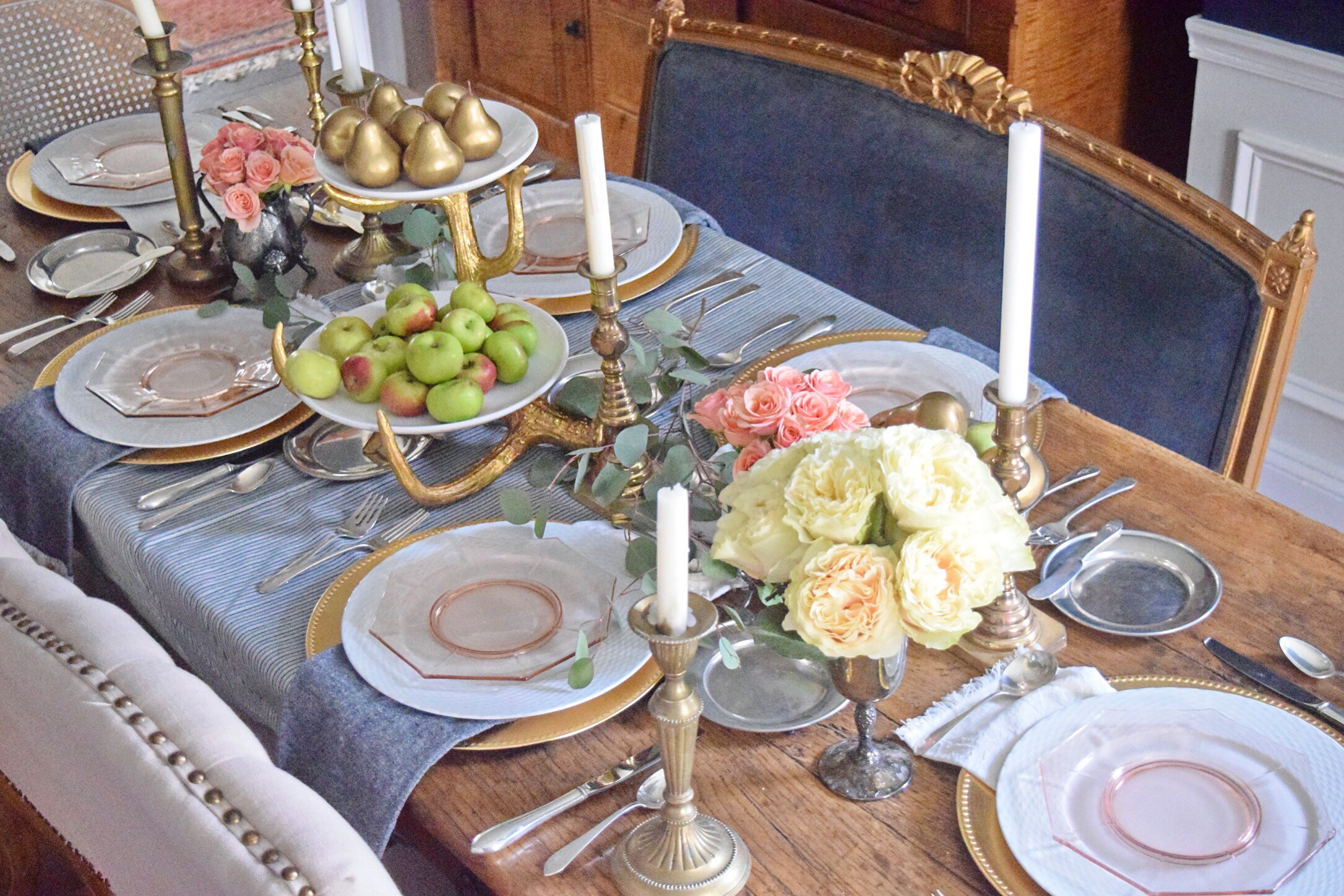 Apricot & Navy Harvest Table