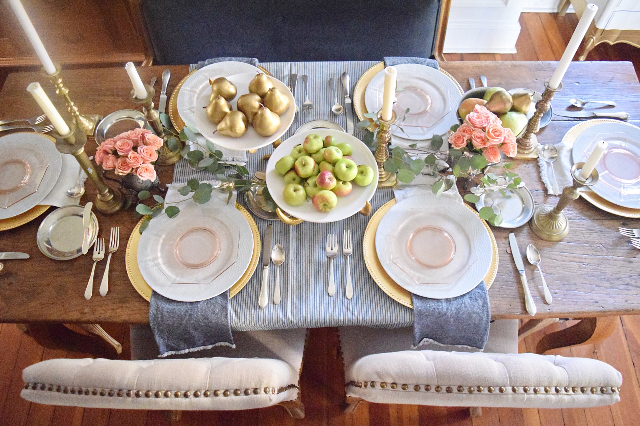 top view of harvest table setting