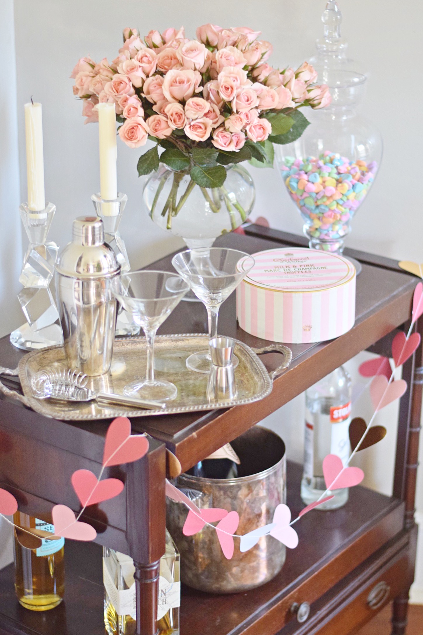 martini glasses pink roses and champagne truffles