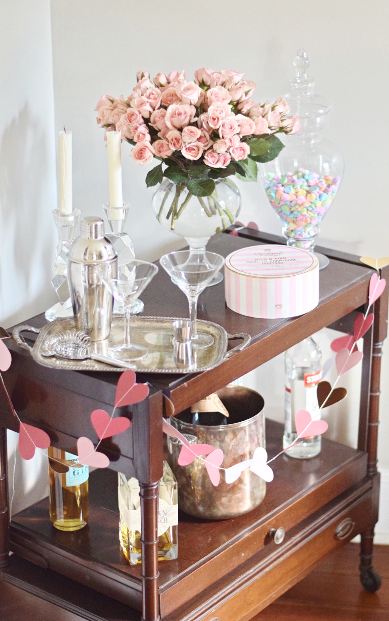 Valentines Day Bar Cart With Pink Champagne Truffles And