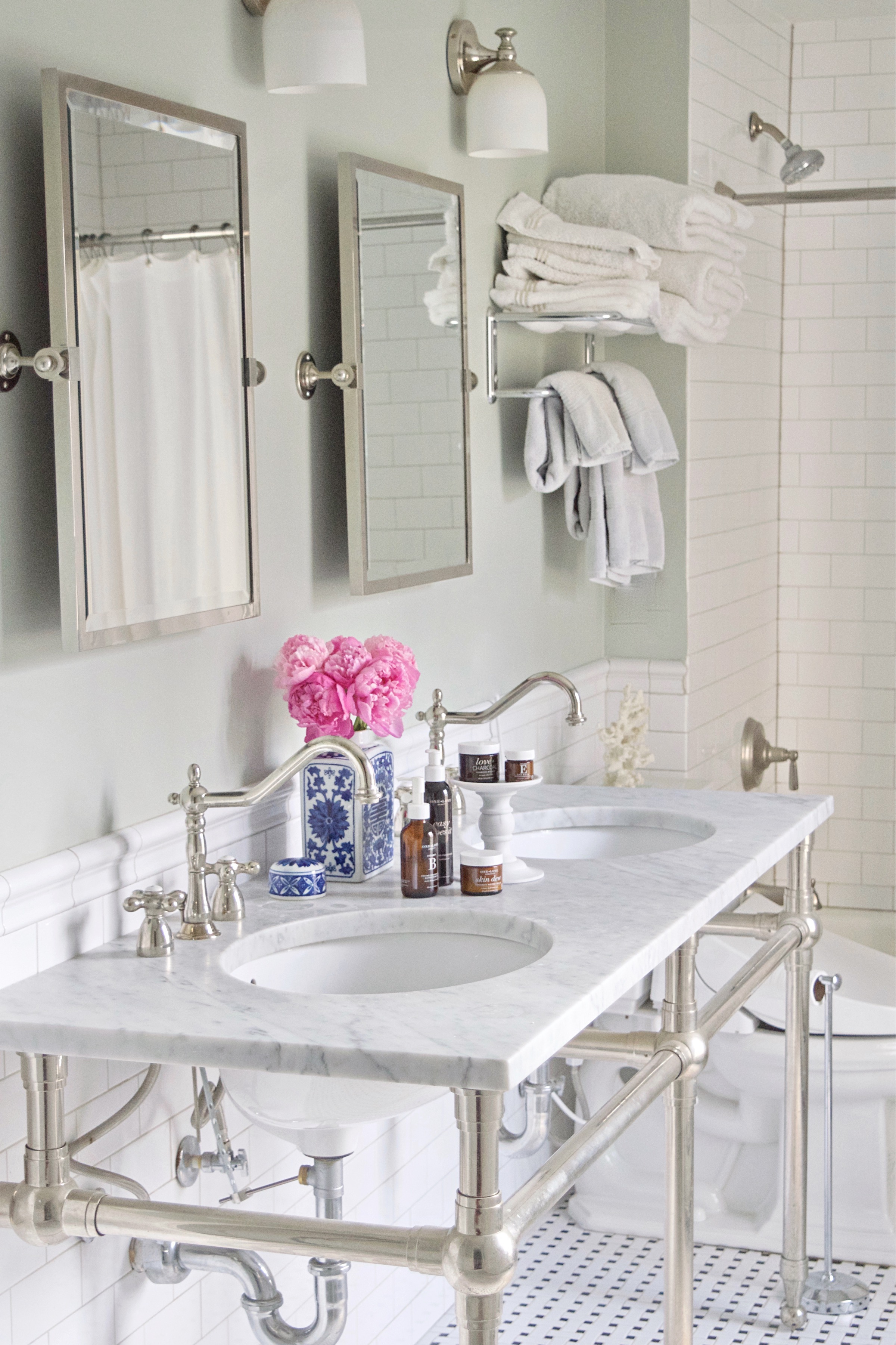 bright bathroom with skincare products